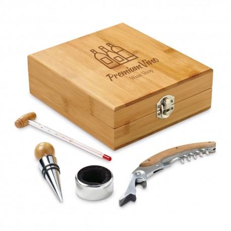 Coffret en bambou 4 accessoires vin